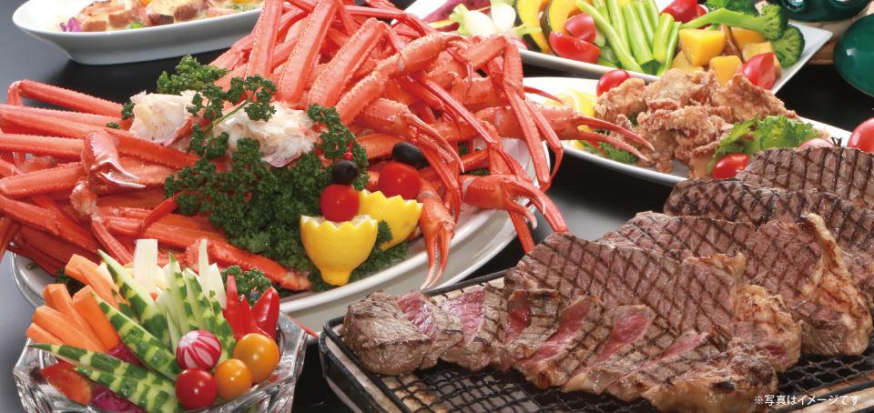 【レストラン&カフェ Lagoon】カニ食べ放題!ディナーブッフェのご案内です